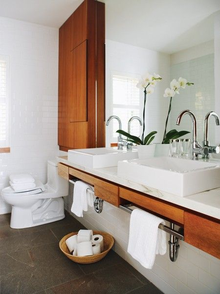 #bathroom white + wood + orchids + full-length mirror = love