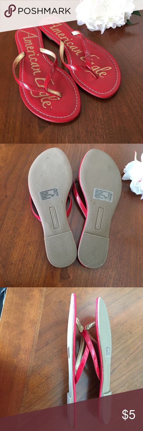 American Eagle red flip flop sandals size 7 Barely worn American eagle by Payless red sandals flip flops. Have a teeny tiny heel. Smoke free dog friendly home. American Eagle by Payless Shoes Sandals