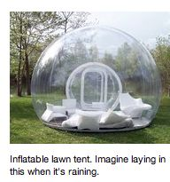 Inflatable lawn tent. Now I can sleep under the stars without bugs.