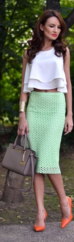 Zara Mint Green Geometric Cutout Pencil Midi Skirt by My Silk Fairytale- Love the pop of orange color in the heels <3