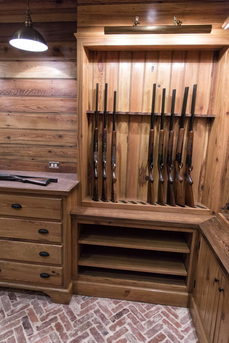 Custom gun room made from reclaimed wood. pikeroadmillwork.com