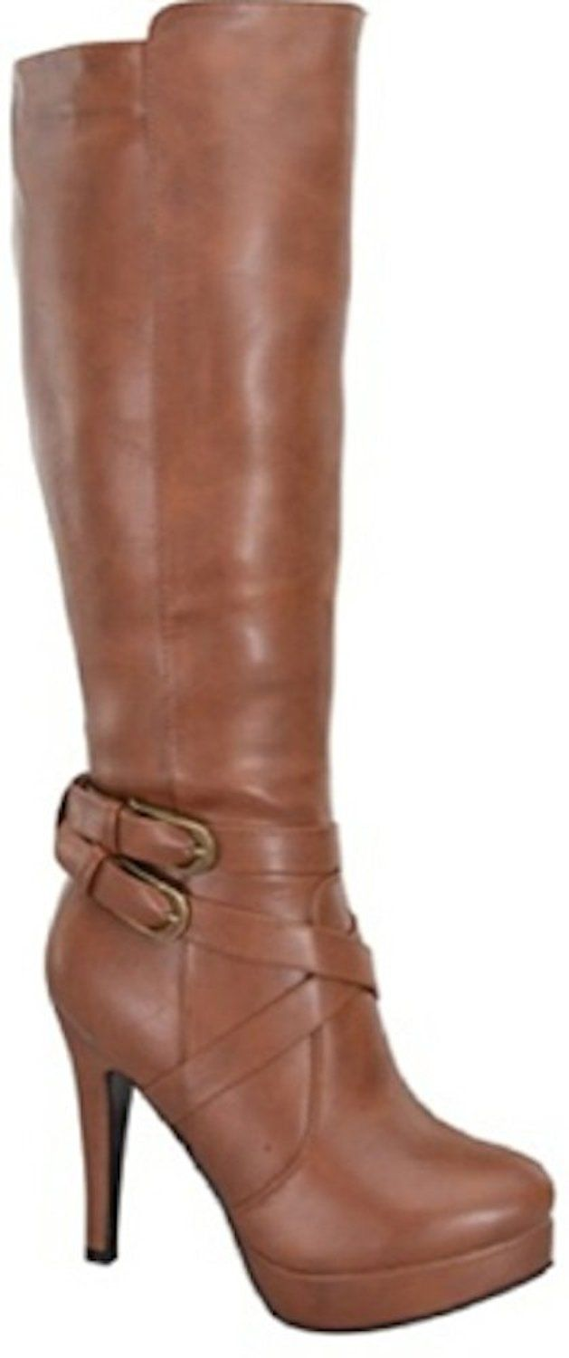 Women's Knee High Stiletto High Heel Platform Buckle Boots in Black, Tan, Brown -- Click image to review more details.