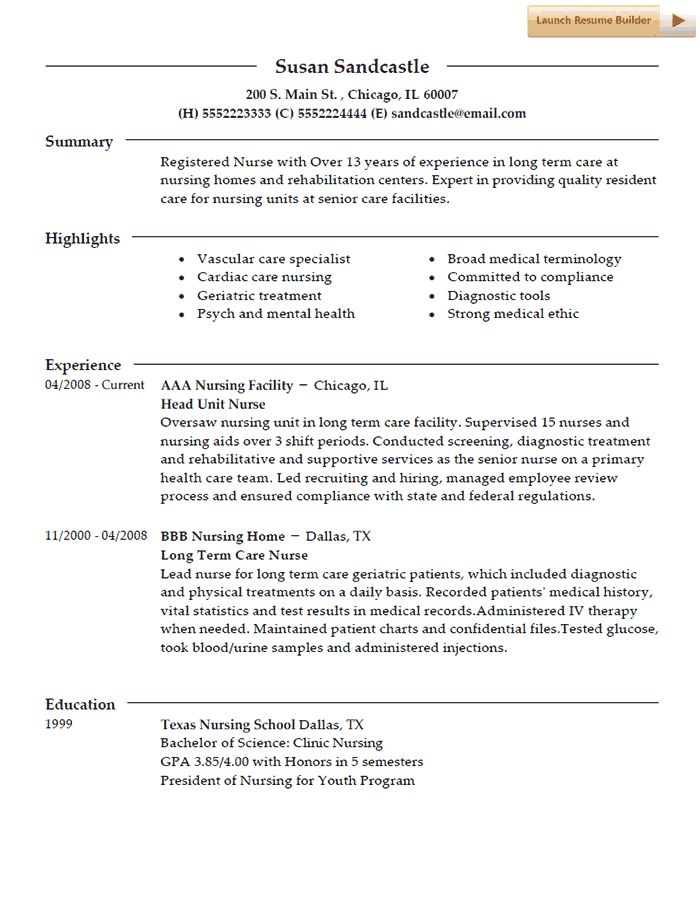 In this post we have a nurse resume template for a nursing professional that has a history of working with residents in nursing homes. This resume was created by our resume builder program and is designed to show one of several types of resumes that can be created. Nurse Resume Template T