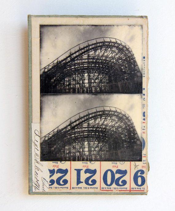 roller coaster theme park original mixed media by mikelrobinson