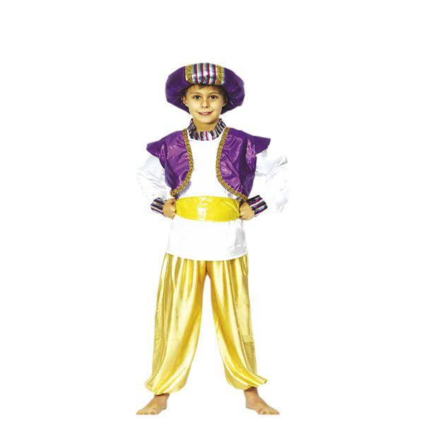 DisfracesMimo, disfraz de principe arabe infantil varias tallas. Serás el más rico y poderoso en tus Fiestas Temáticas, navidad o cabalgatas de reyes. Prepárate para que todas las niñas caigan rendidas a tus pies, y deseen ser tu princesa.