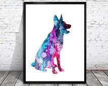 Kék német juhász kutya Akvarell Nyomtatás Levéltári, Gyermek Wall Art, német juhász akvarell, akvarell, kutya művészet,