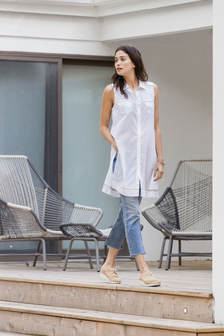 The collared cotton voile tunic is nice and long with exaggerated side slits. Wear it back to your favorite rolled jeans or capri pants. This tunic can also double as a beach cover up.  Side Slit Tunic by Lilla P. Clothing - Tops - Sleeveless Clothing - Tops - Tunics Clothing - Tops - Casual Clothing - Tops - Button Down Clothing - Tops - Blouses & Shirts Virginia