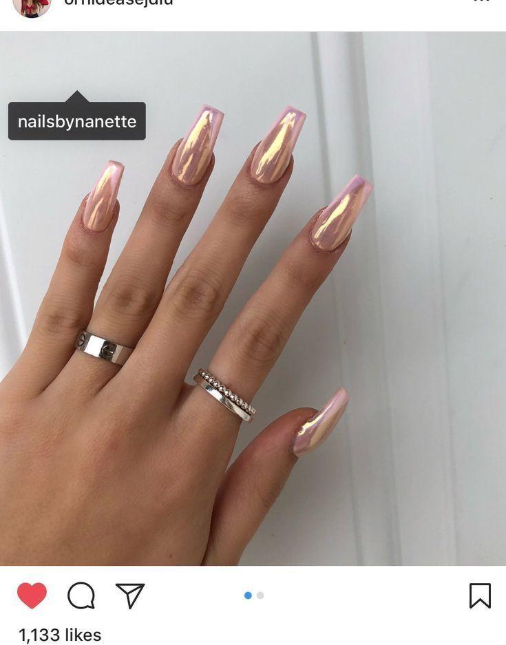 Long coffin nails, ballerina nails, chrome nails, nails ...