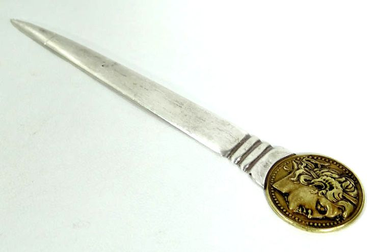ANTIQUE GREEK 925 STERLING SILVER LETTER OPENER PAPER KNIFE ALEXANDER GREAT COIN