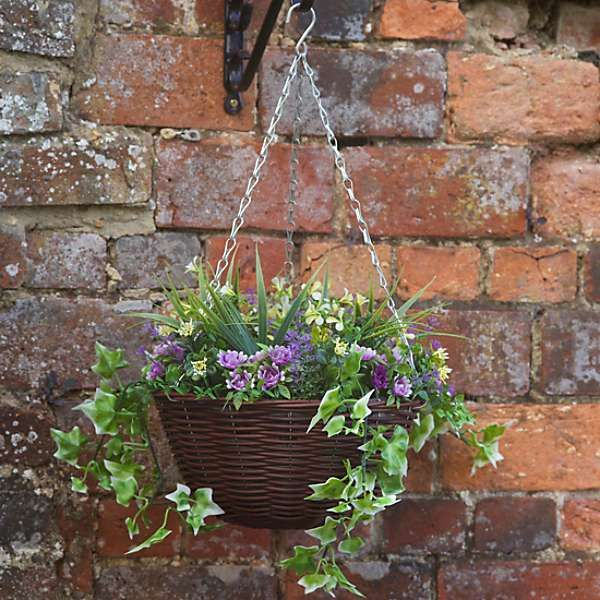 Artificial Hanging Basket with Purple Flowers