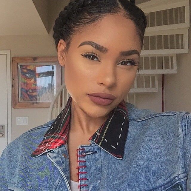 By @itsmyrayeraye Cornrow  Lips : LaGirl lip pencil (true brown) with Stila liquid lipstick (amore)