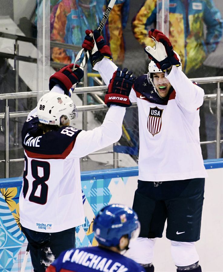 Patrick Kane and James van Riemsdyk, Team USA, Sochi 2014 (via jdornation / Tumblr)