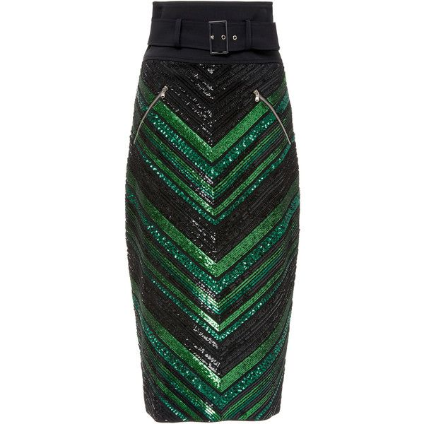 Sally LaPointe Chevron Sequin Pencil Skirt ($2,250) ❤ liked on Polyvore featuring skirts, green, pencil skirt, sequined pencil skirts, knee length pencil skirt, embroidered skirt and sally lapointe