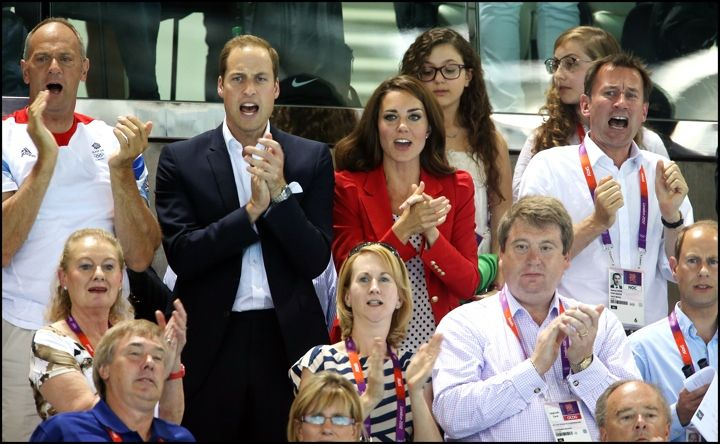 Kate watching swimming in red Zara coat for Olympics Day 7