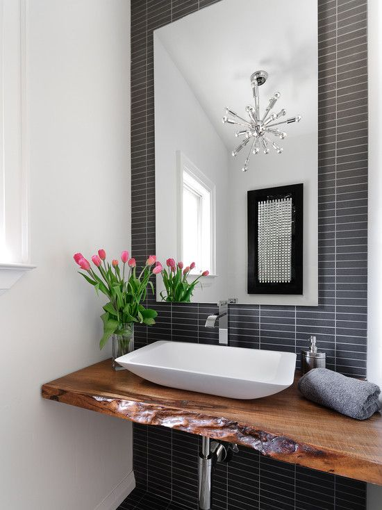 Photo Image Guest bath love this wood counter top and modern backsplash Modern Powder RoomsRustic