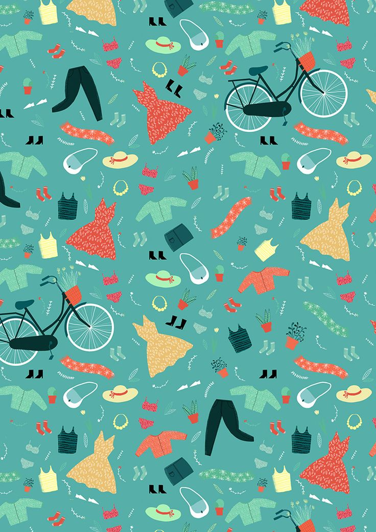 #illustration #pattern #anaseixas #newdivision #clothes #dress #bicycle