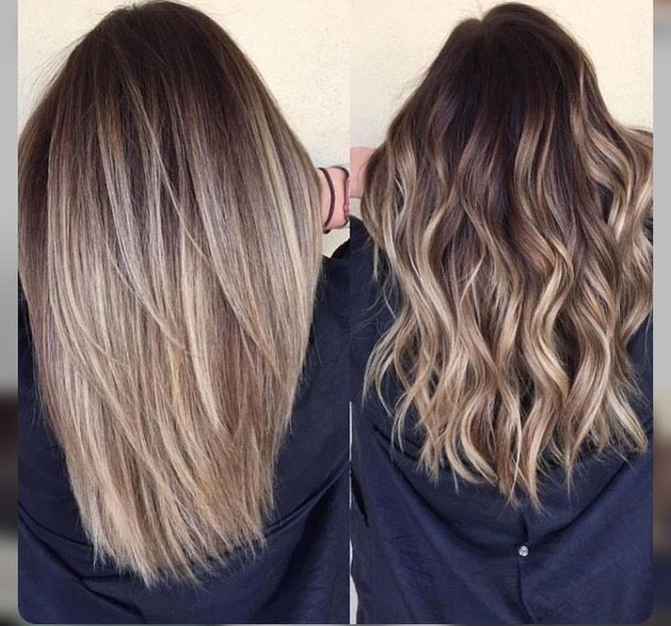 Blonde balayage hair. Medium length.