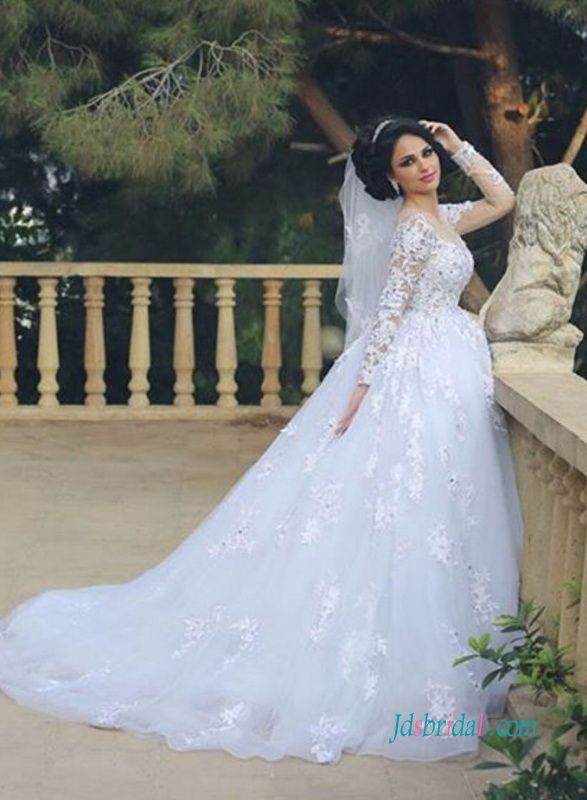 Modest Long Sleeves Princess Ball Gown Wedding Dress With Images