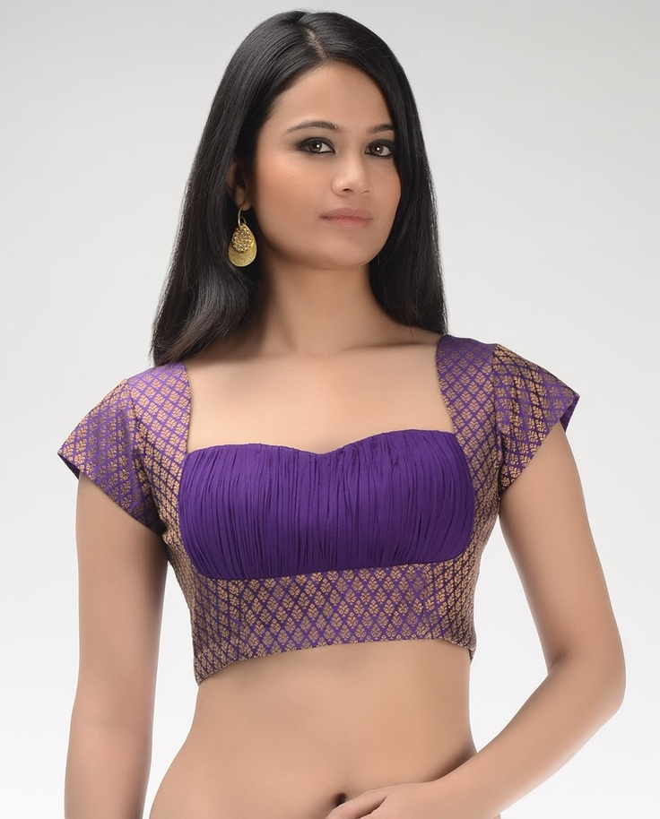 Violet Brocade Blouse with Ruched Yoke - Exclusively In