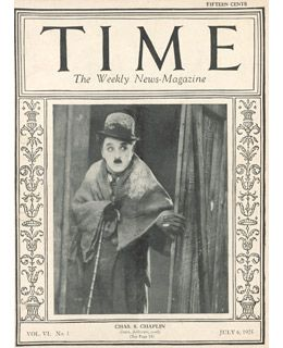 1925 cover of Time Magazine. Chaplin was the first actor to be on the cover of Time Magazine