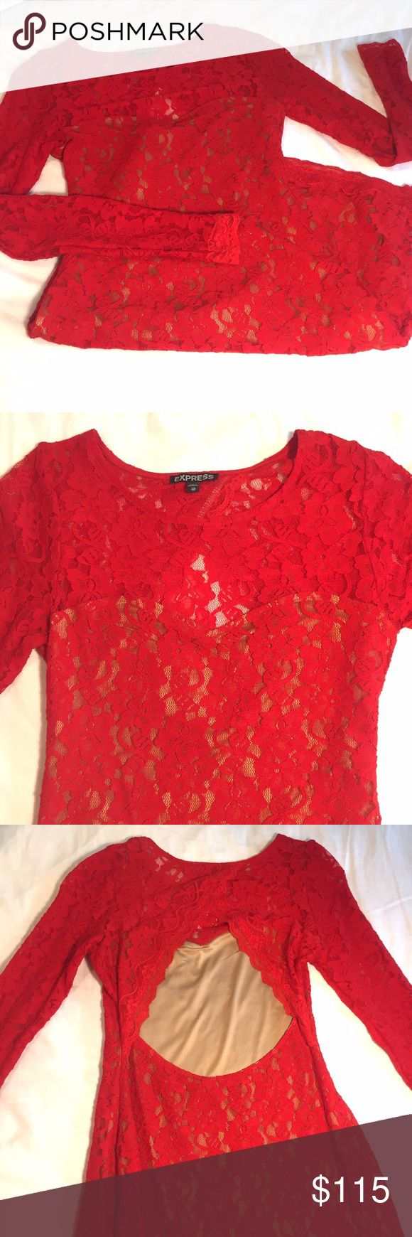 Sexy lace skin tight dress Beautiful red lace dress with long sleeves and back cut out. Fully lined with sweetheart bust. Size XS, runs large. Fits like a small. condition: lightly used. Express Dresses Long Sleeve