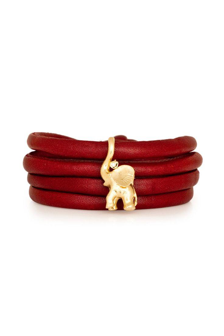 Ole Lynggaard Copenhagen Elephant Charm on Wine Red Leather Bracelet LaPrendo