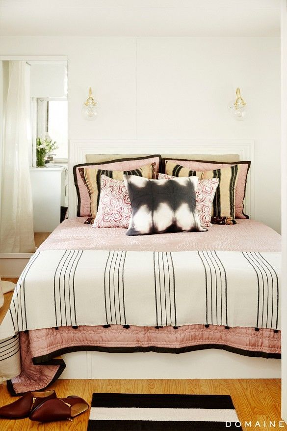 mixed pattern bedding in blush with tie dye pillow sleepys - Sleepys Bed Frame