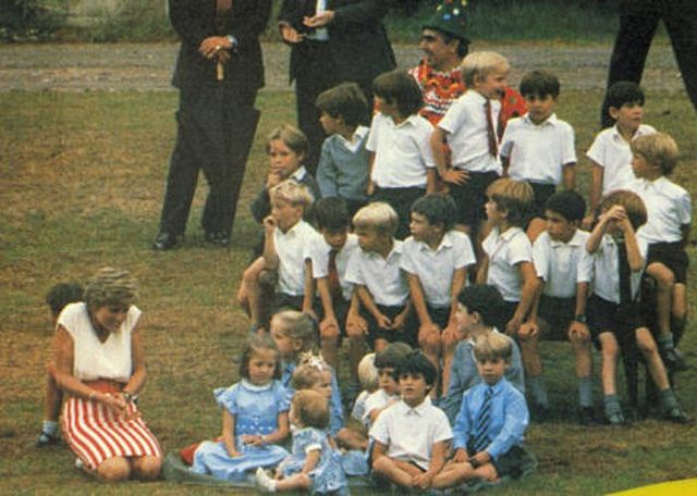 September 15, 1991: Princess Diana and guests at Prince Harry's 7th birthday party.