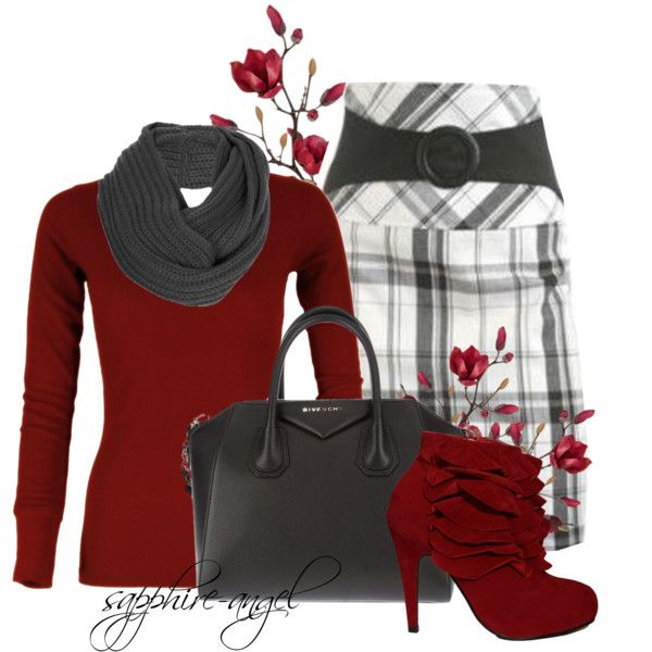 The boots are not me but love the rest! ~Black and white plaid skirt, red shirt and ankle boots, gray scarf