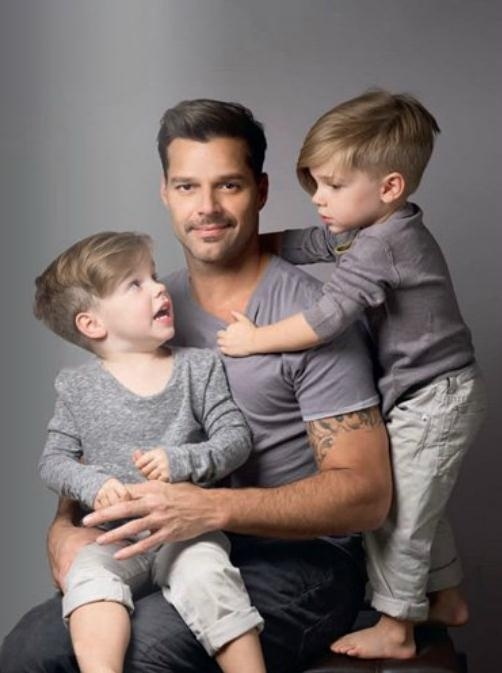 Ricky Martin needs to calm his face down but I kind of love the stylish little boy hair cuts