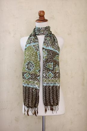 Javanese Batik decorates whisper thin silk scarves!