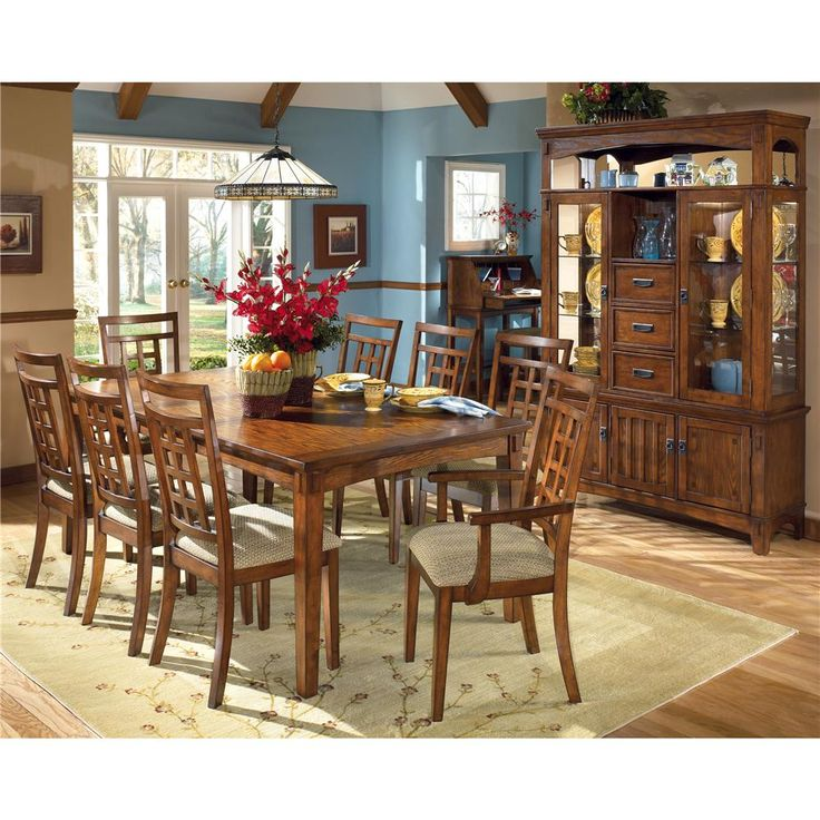 Ashley Furniture Cross Island Rectangular Extension Table And 8 Chair Set