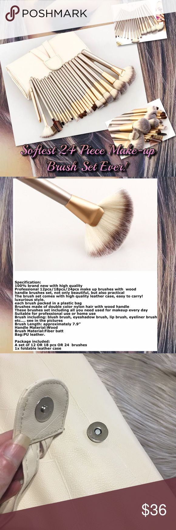 Softest 24 Piece Make-up Brush Set EVER! 3 Avail! I own this!  I own a $70 Kevin Aucoin with hairs falling out& Sephora's that never dry.  It's not $$/ brand.  It's application & basic craftsmanship.  Stop wasting your money--I am!  Yes some are good!  Tarteist is a game changer--Seriously!  This is the best bundle I've bought, I bought many.  Bag PU Leather, flexible w/ magnetic closure.  Each large has plastic cover.  Protective flap cover-no brushes falling out.  Brushes crafted…