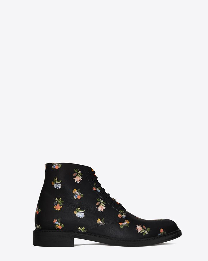 Saint Laurent LOLITA 20 Lace Up Boot In Black And Multicolor ...
