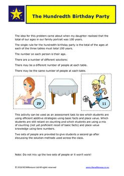 This Wilkie Way problem learning task provides an opportunity for students to master the use of early place value concepts and use of basic addition facts in a problem solving situation.There are multiple solutions to the problem and a second set of party people are provided to allow students to rework the problem again using what they learn from their first solutions.This problems works very well as an assessment task.