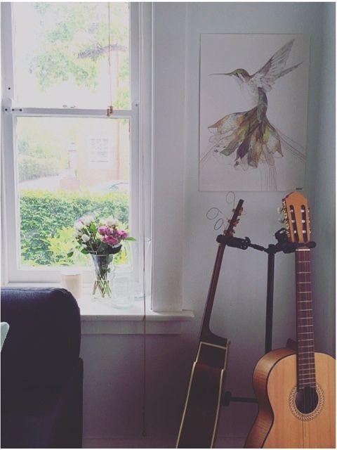 Sally Bay -home -interior design -interior decorating -house -loungeroom -guitar -art -floral -architecture   Instagram: @sally_bay  Website: www.sallybay.com.au