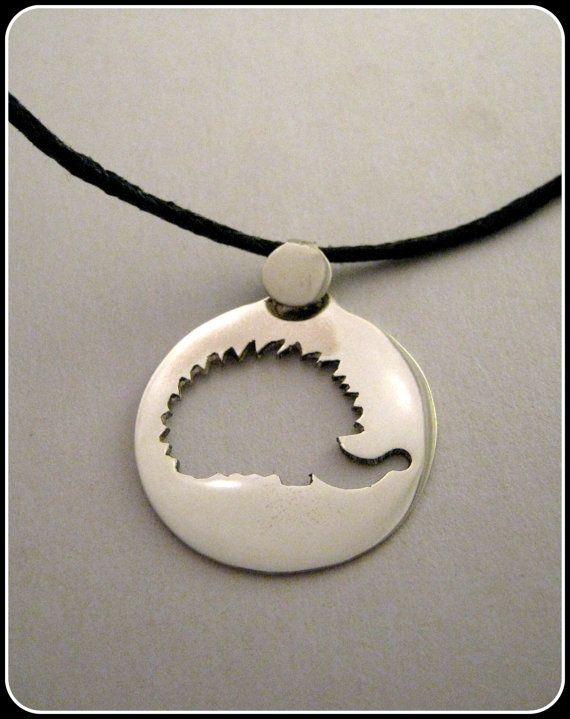 Silver Hedgehog pendant by Minicsiga on Etsy