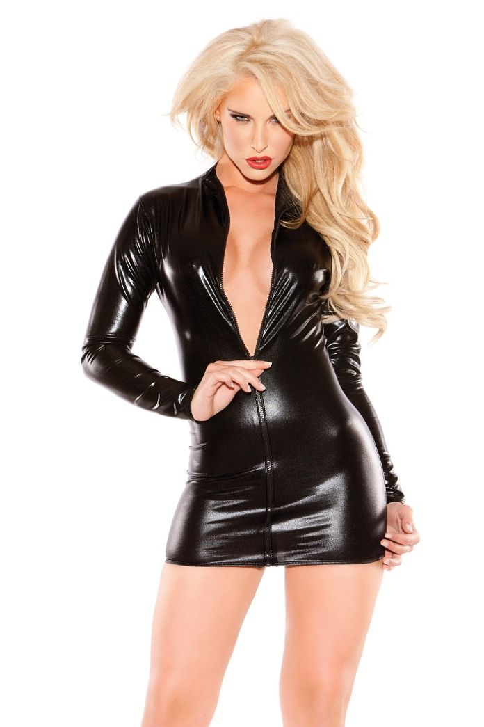 Kitten stretchy black sexy mini dress with long sleeves and front zipper closure.