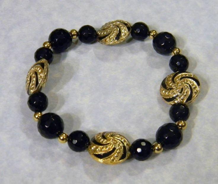 Onyx, Cloisonné Enamel and Gold Bead Stretch Bracelet