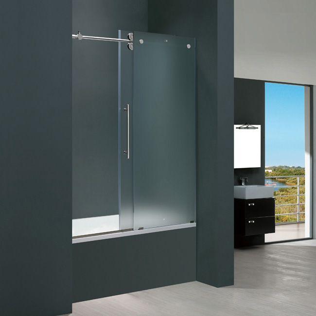 Vigo 60 Inch Frameless Tub Door In Frosted Glass