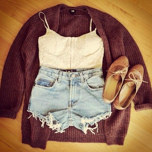 burgundy cardigan. oxfords. high waisted shorts. white cropped cami