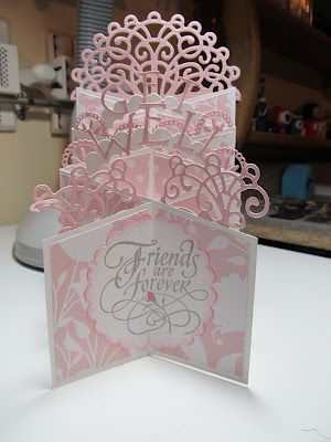 """3/10/2012; Chris Peterson at """"Calla Lily Studio Blog;"""" using Heartfelt Creations dies on this cascading card; REALLY lovely!"""
