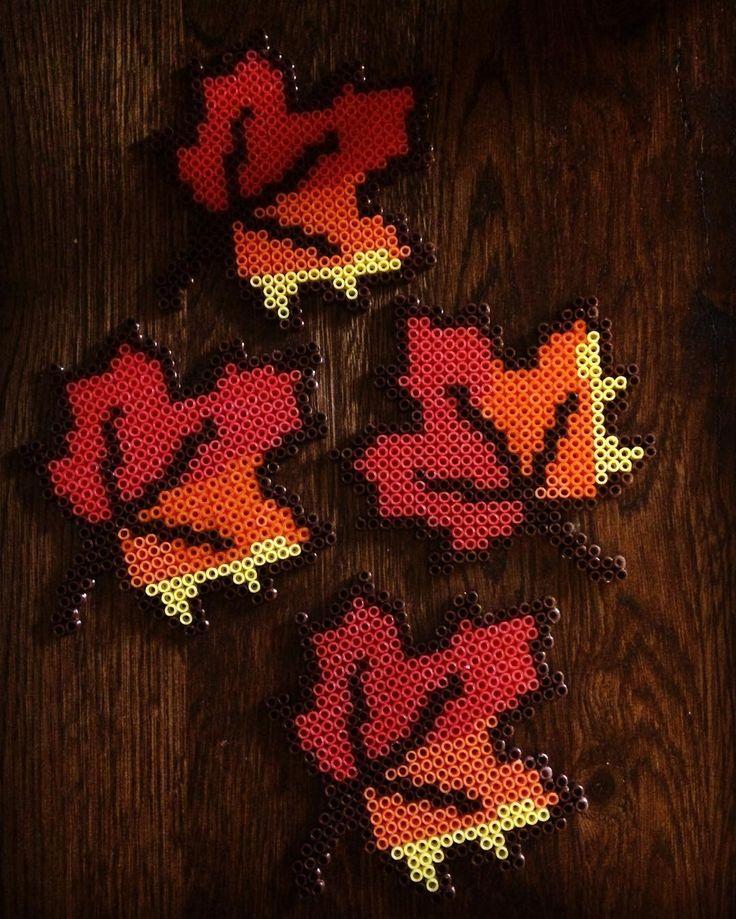 Maple leaves perler beads by gingiberis