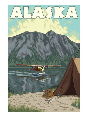 Bush Plane and Fishing, Alaska Art Print