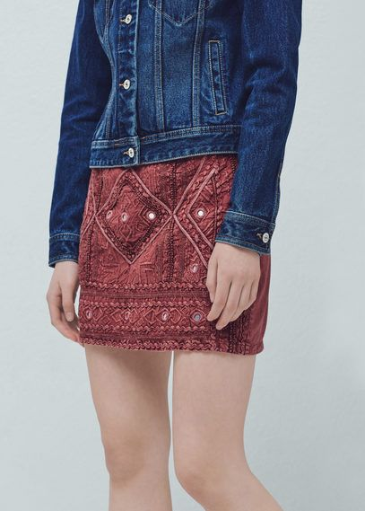 Mango Outlet Embroidered cotton skirt