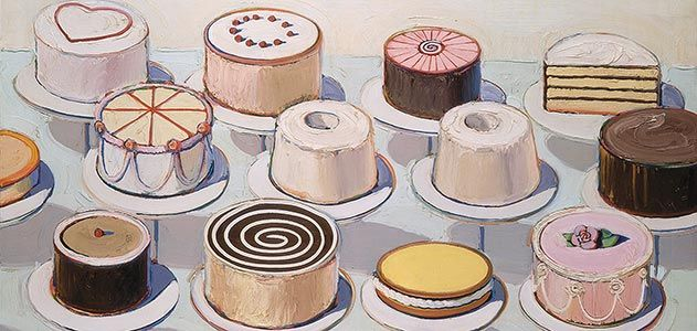 Wayne Thiebaud's pastries look like you could reach out and touch them. I fell in love with them years ago at the Smithsonian. Feels like Valentine's Day to me.
