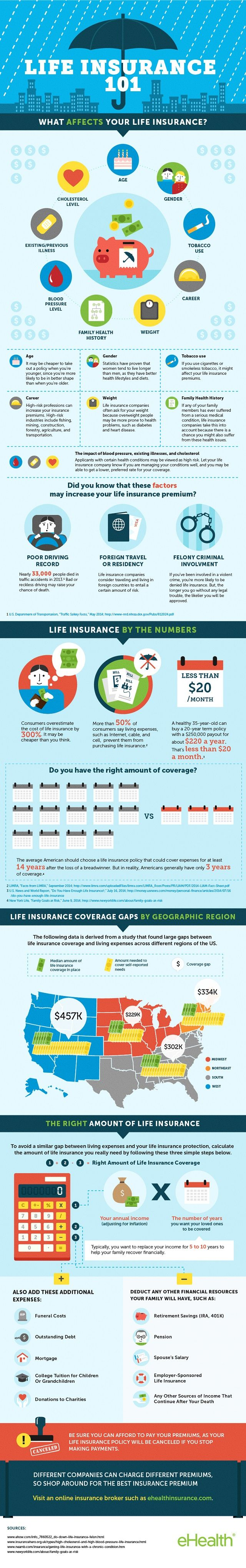 View our infographic on life insurance and learn about the factors affecting premiums, life insurance coverage gap & true costs of life insurance.