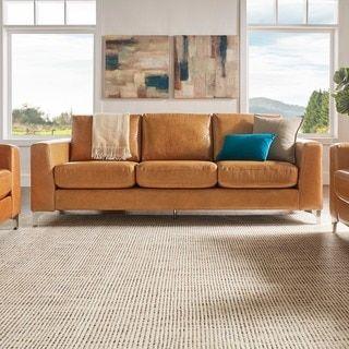 Bastian Aniline Leather Caramel Brown Sofa by MID-CENTURY