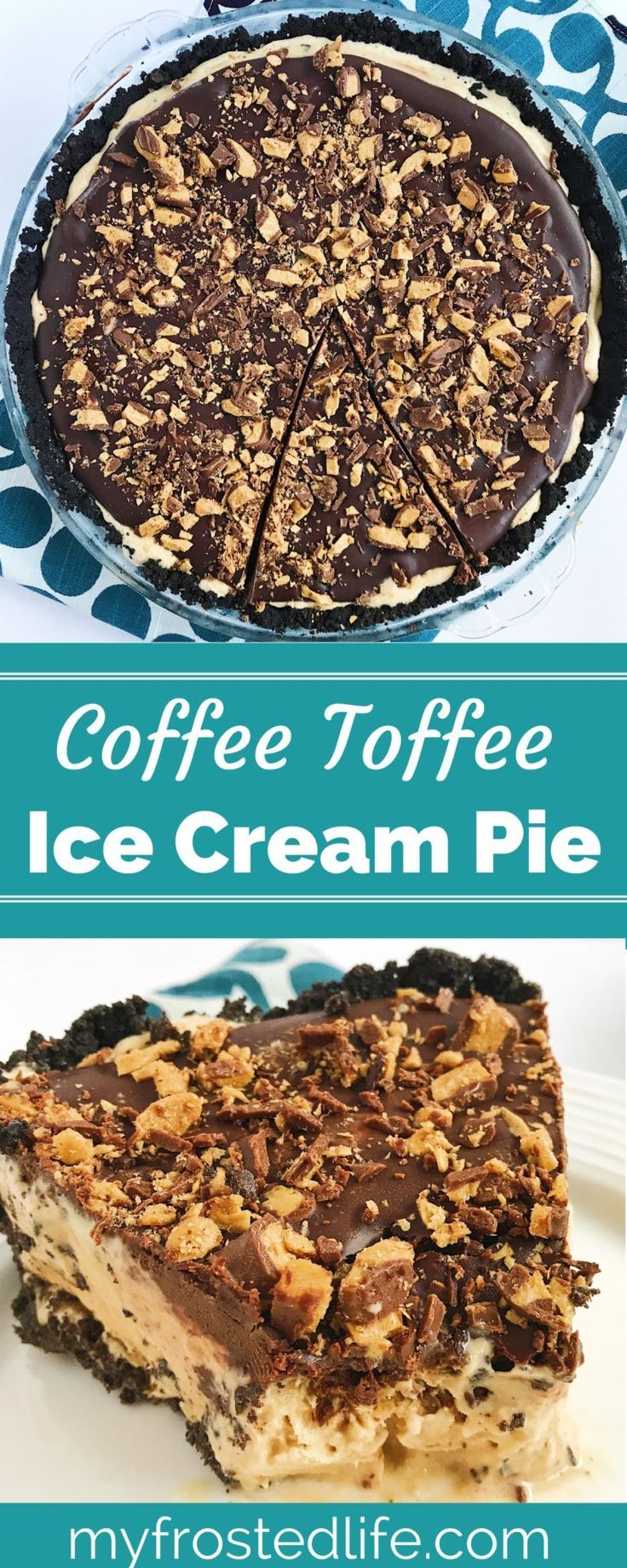 What could be better than an ice cream sundae and a pie? An easy coffee toffee ice cream pie of course! This homemade, no bake ice cream pie layers an oreo cookie crust, the best coffee heath bar ice cream, and a chocolate ganache topping. This simple, creamy ice cream dessert will remind you of summer birthdays at the local ice cream parlor. Put  it on your menu and in the freezer today! Click through to the recipe to find out how easy this DIY ice cream pie is to make!
