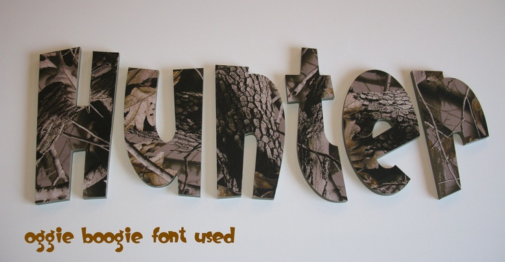 Realtree Hardwoods Camo Kids Room Wall Letters  http://funkyletterboutique.com/item_106/Realtree-Hardwoods-Camo-Wall-Letters.htm